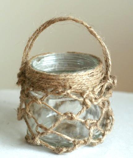 麻紐を結ぶ 空き瓶リメイク