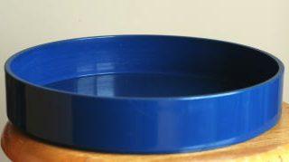 管理人の花器:青プラスチック丸水盤(草月流花器)